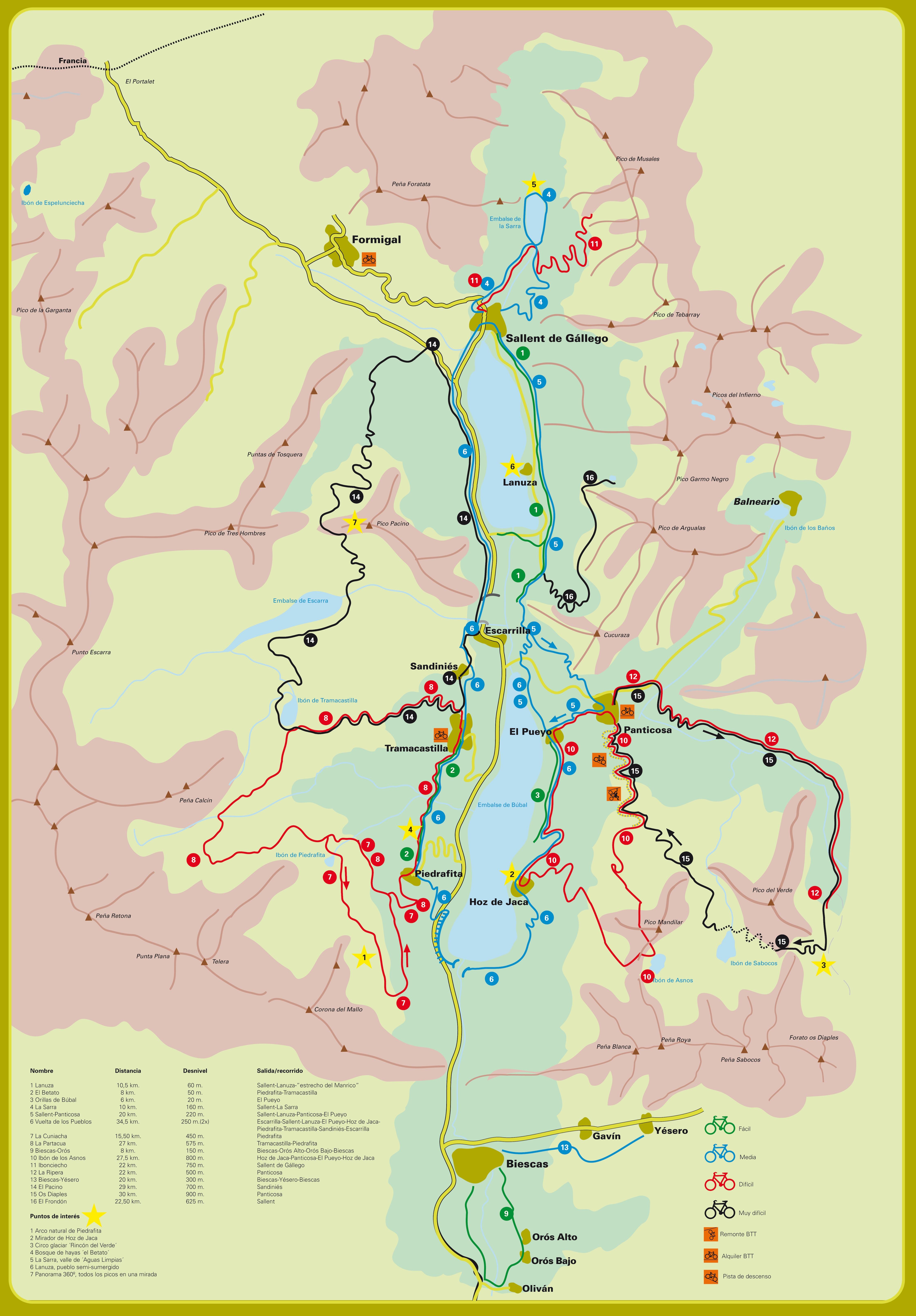 Mapa De Las Rutas BTT En El Valle Tena